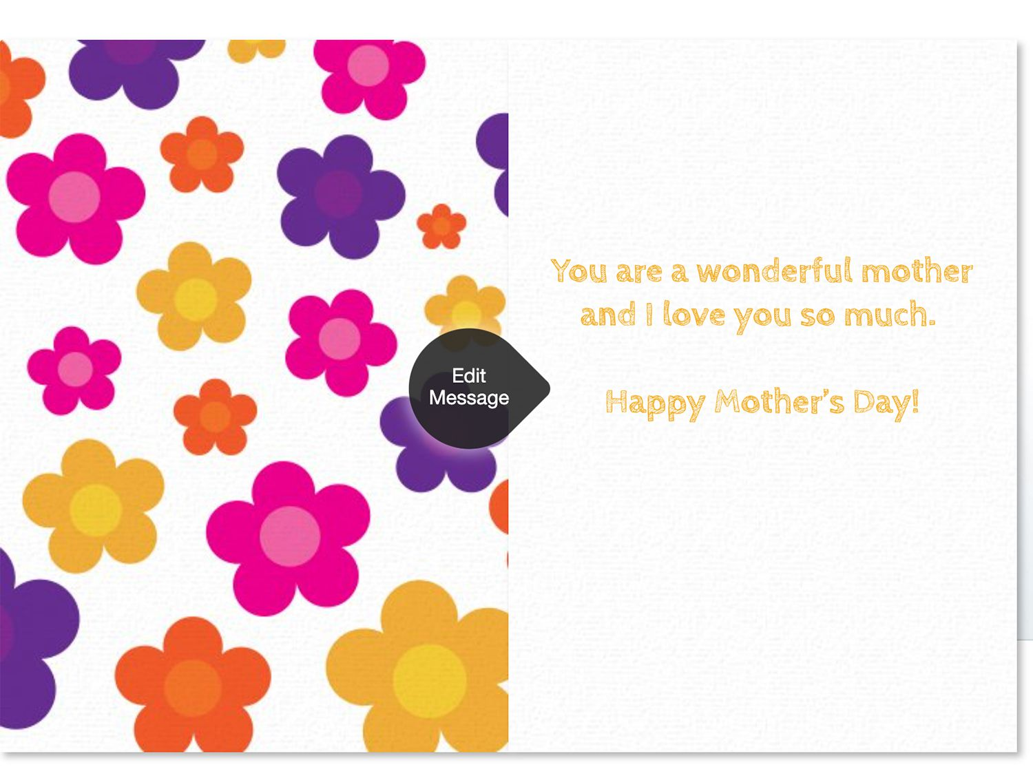 Customizable flower-themed Mother's Day e-card from Punchbowl e-card website