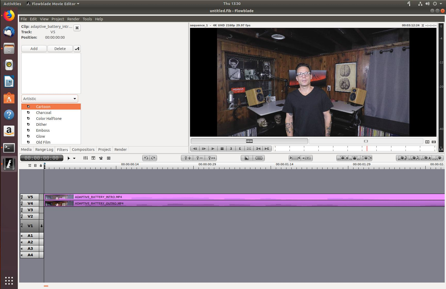 Editing a video in the Flowblade video editor