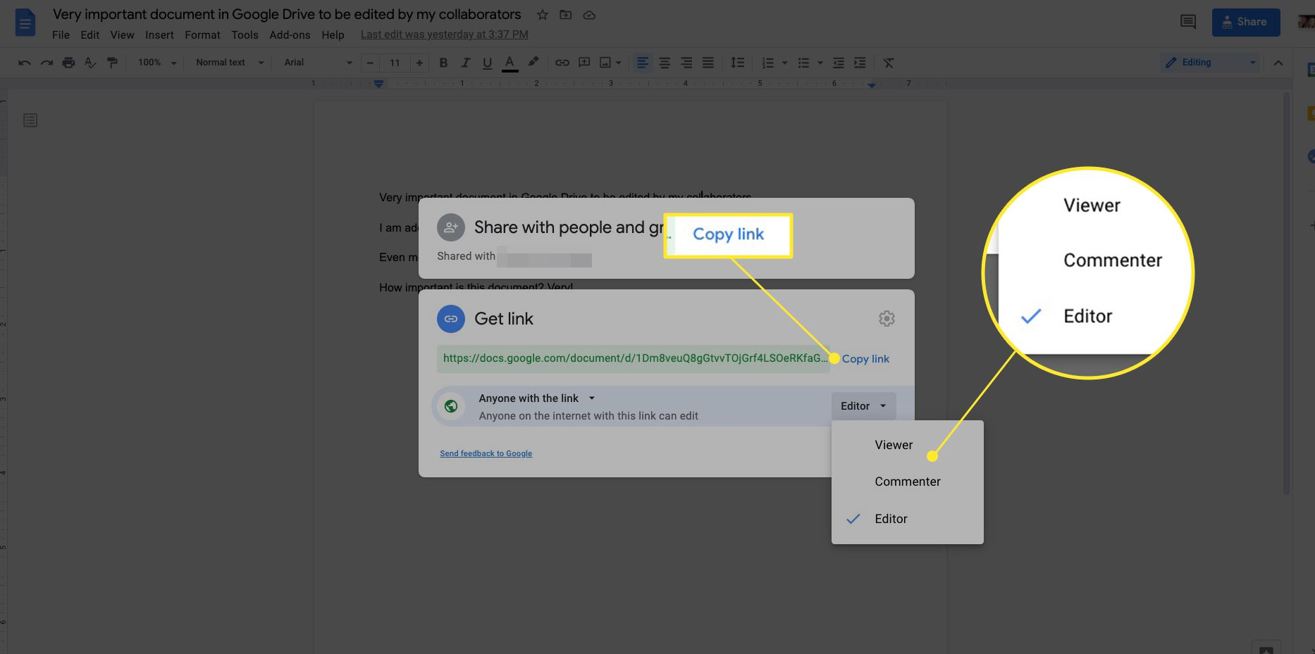 Google Docs Get Link box with Copy Link and sharing options highlighted