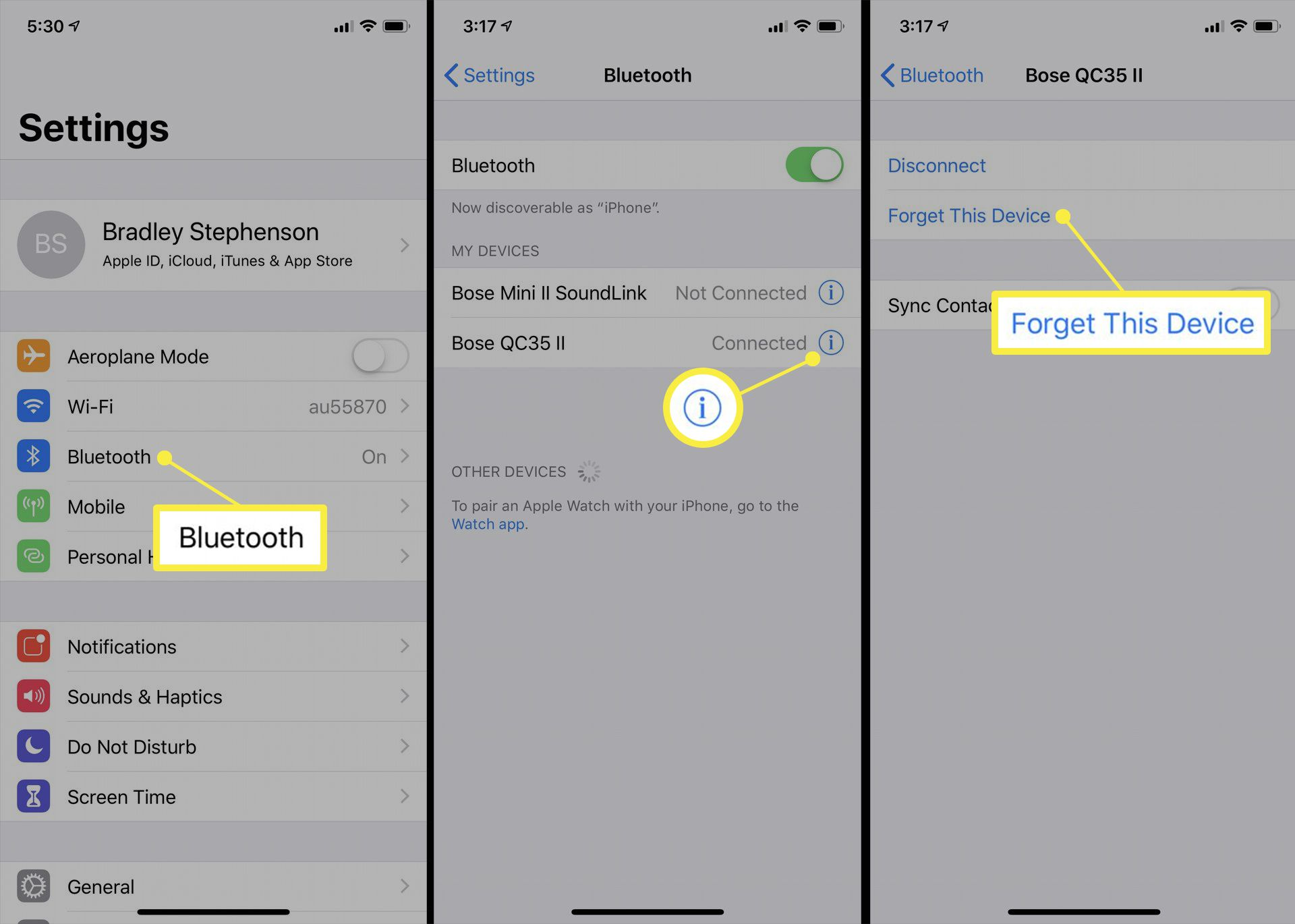 iOS Bluetooth device settings.
