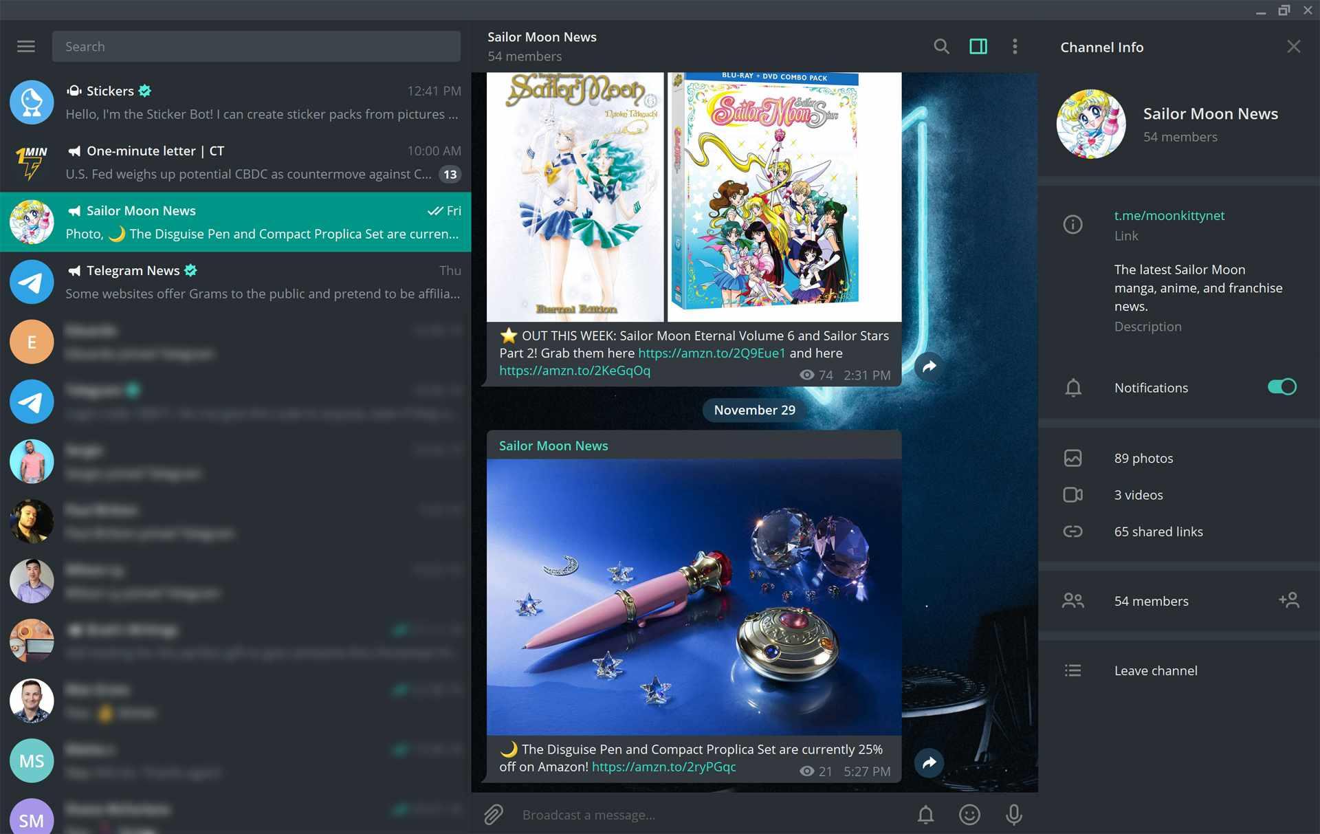 Telegram Desktop app on Windows 10.