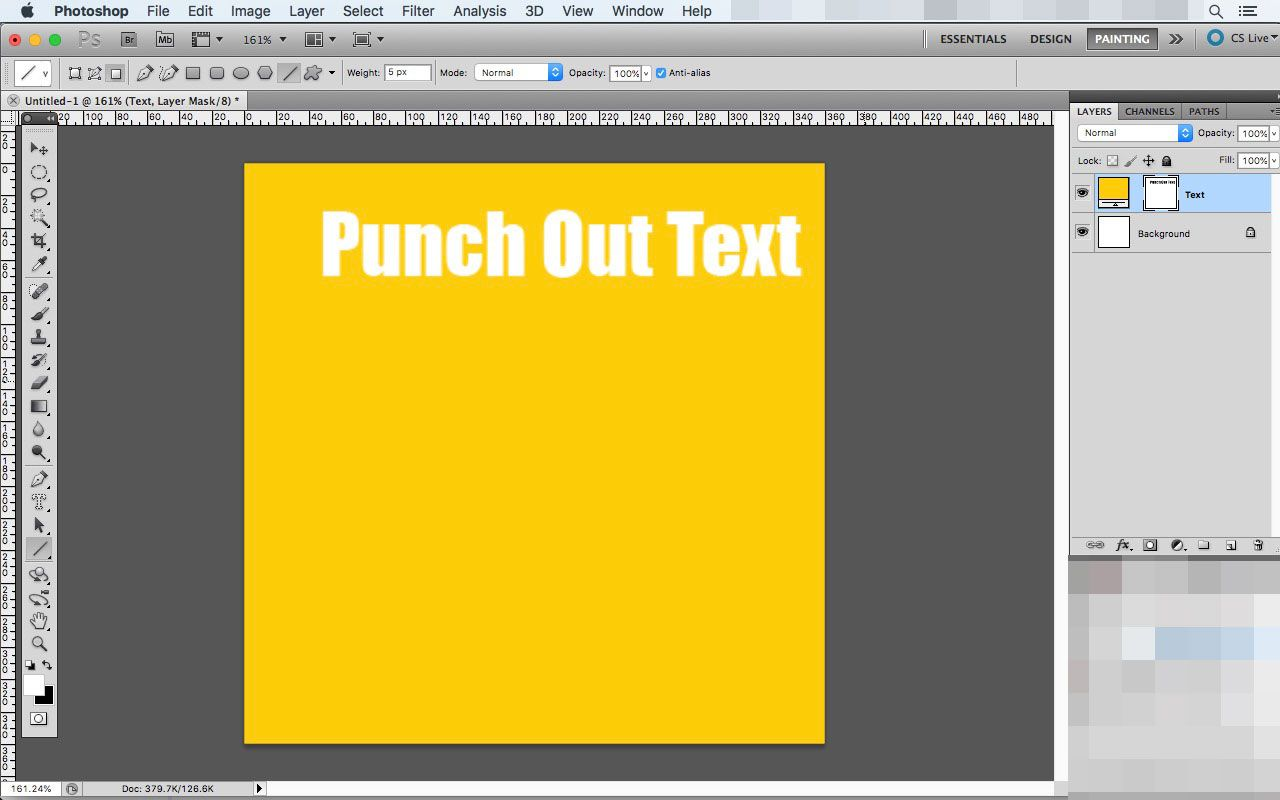 A text punch-out in Photoshop