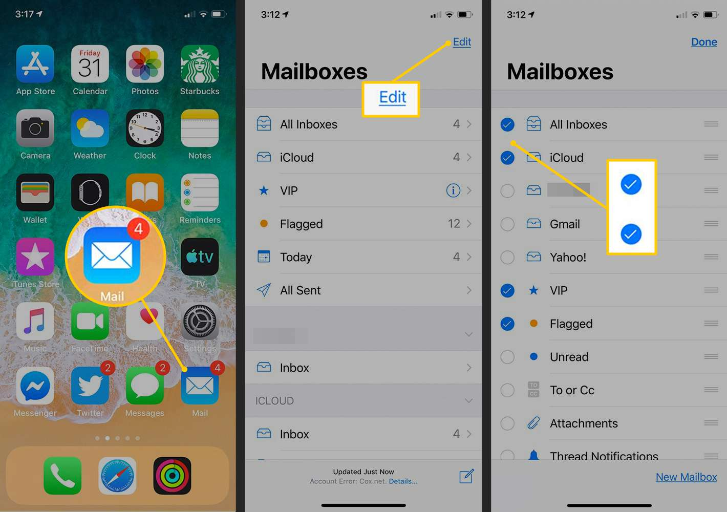 Mail icon, Edit button, checkboxes on iOS