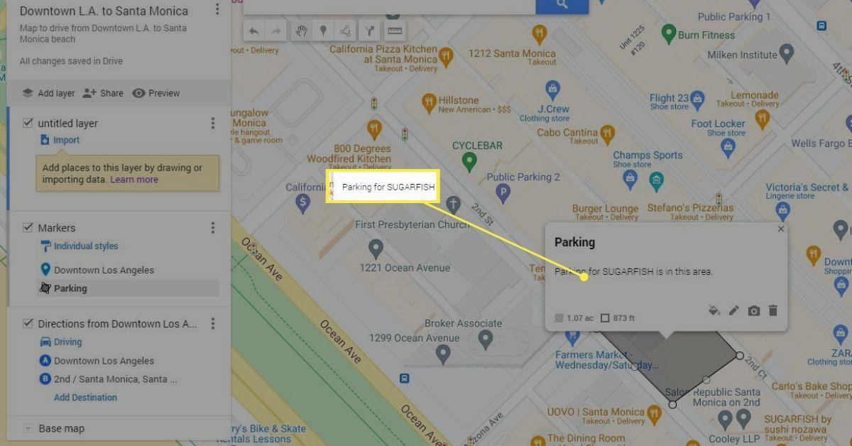 Add a note to custom shape in Google Maps