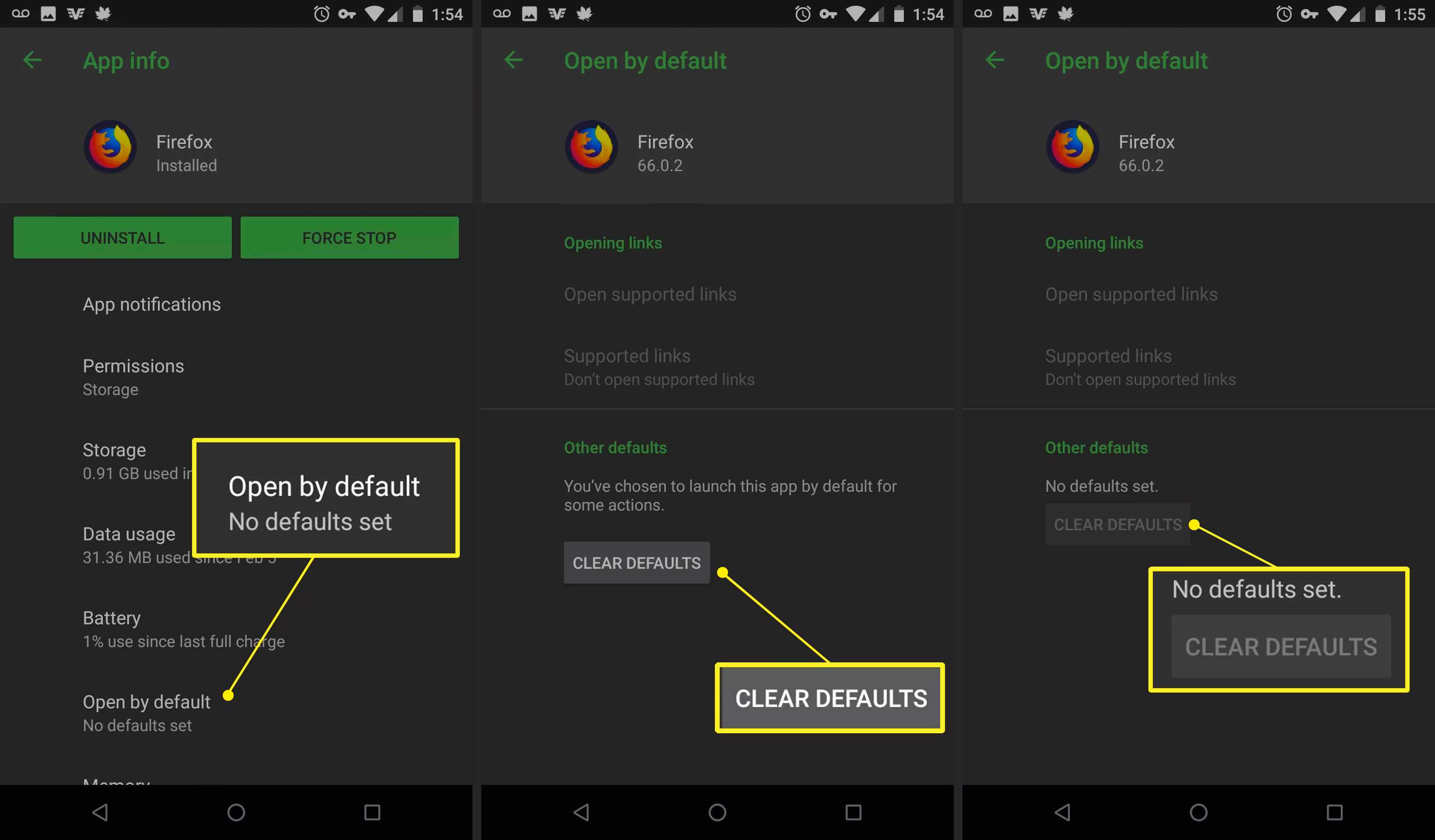 Android Open by default, Clear Defaults, No defaults set