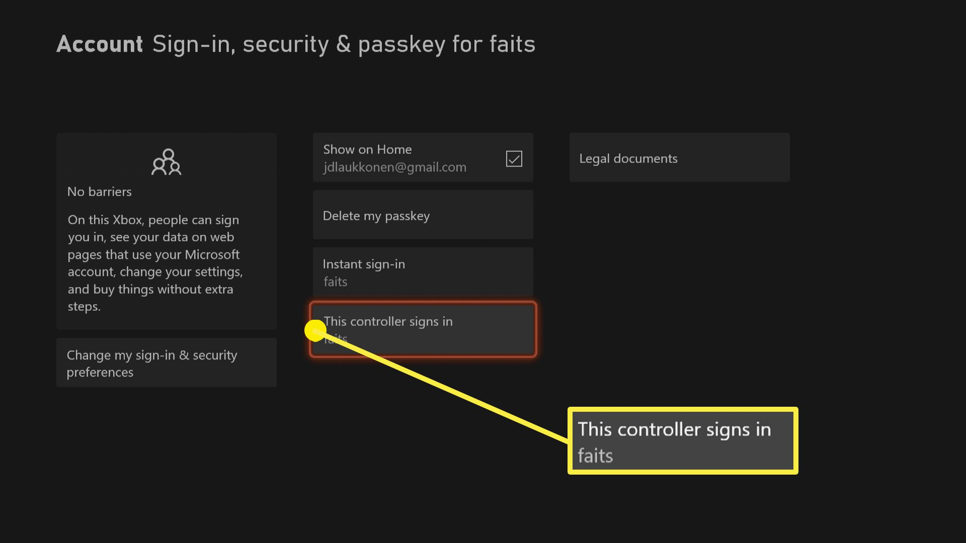 A screenshot of sign in, security, and passkey options on Xbox Series X|S.