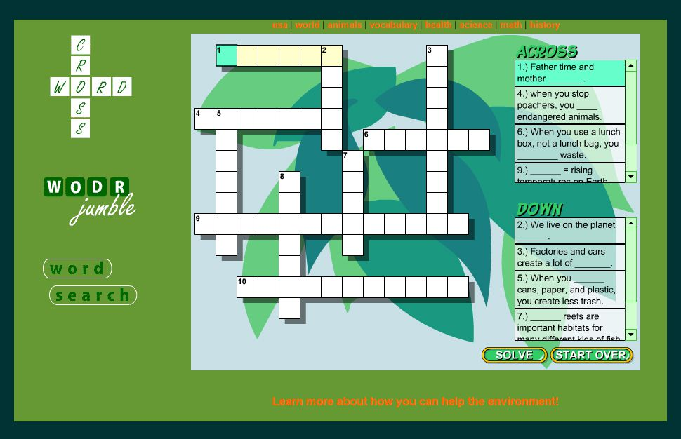 Screenshot Of An Earth Day Crossword Puzzle Game