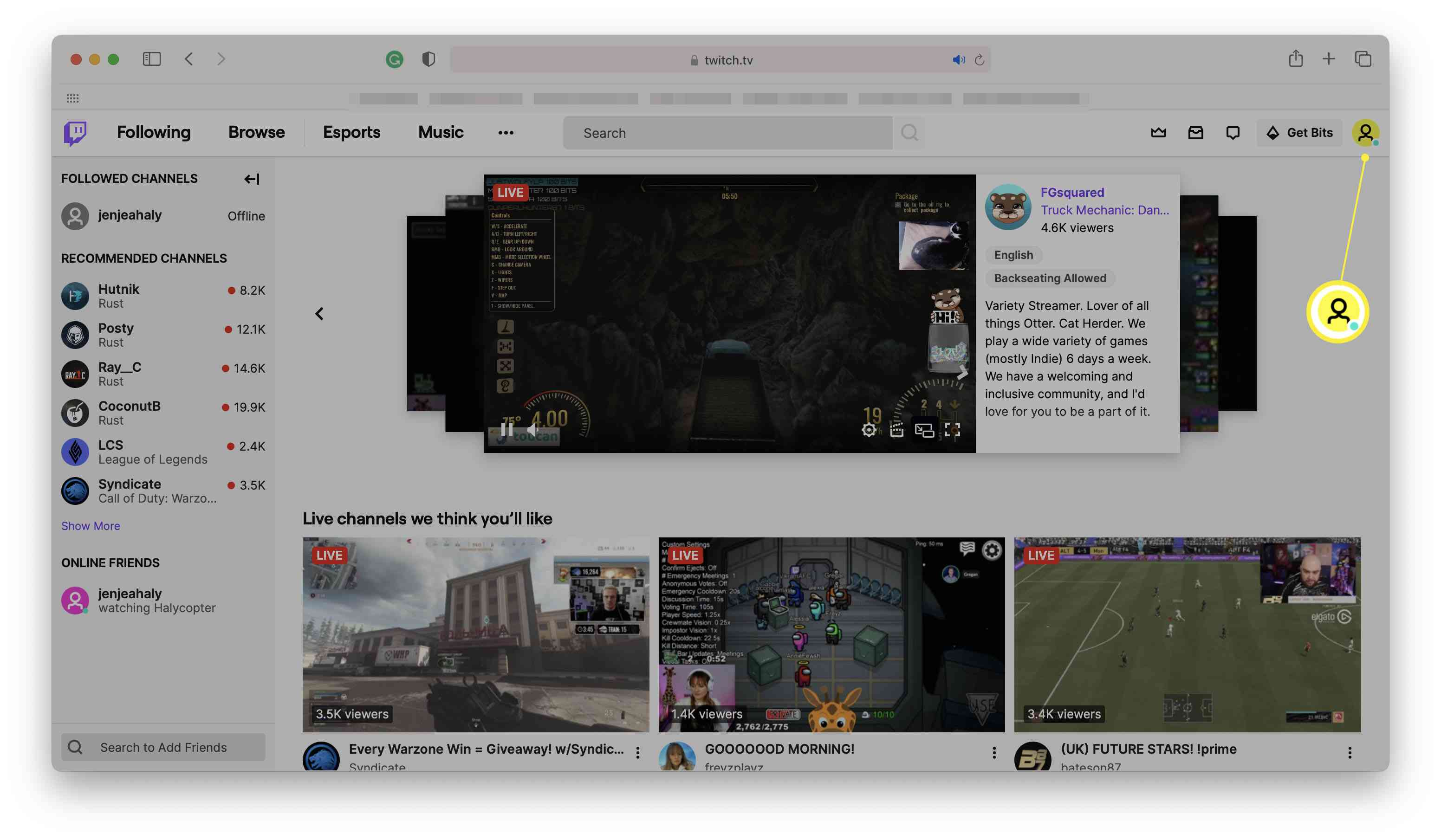Twitch dashboard with profile image highlighted