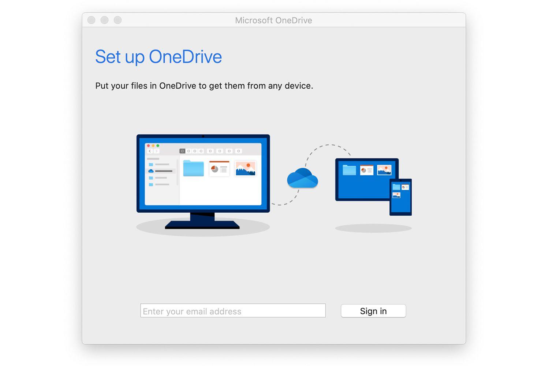 OneDrive setup screen on a Mac