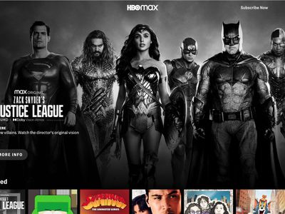 HBO Max home page highlighting Zack Snyder's Justice League.