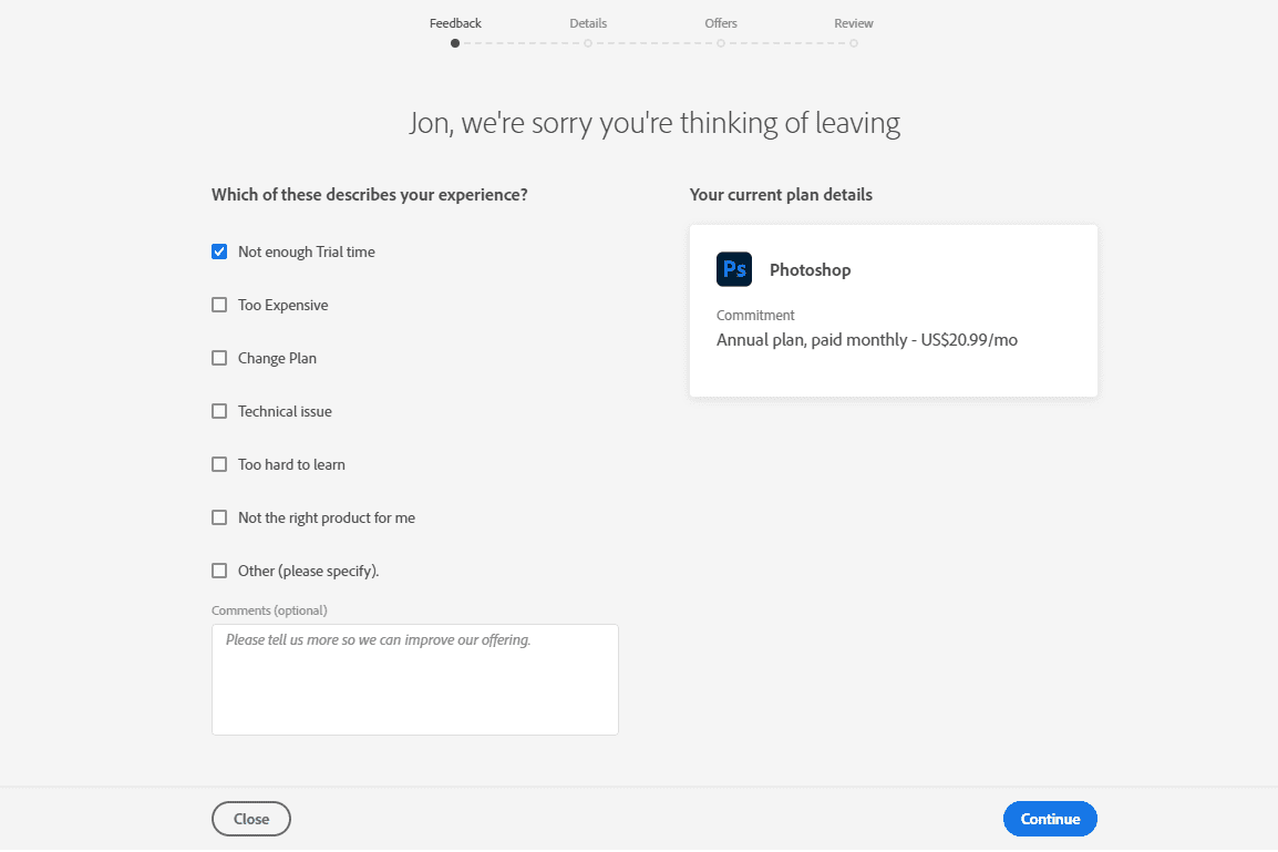 Which of these describes your experience questions on the Adobe cancel plan page