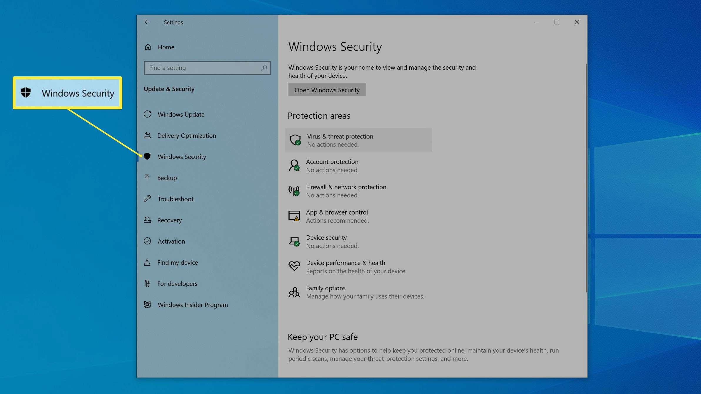 The Windows Security page in the Settings app.