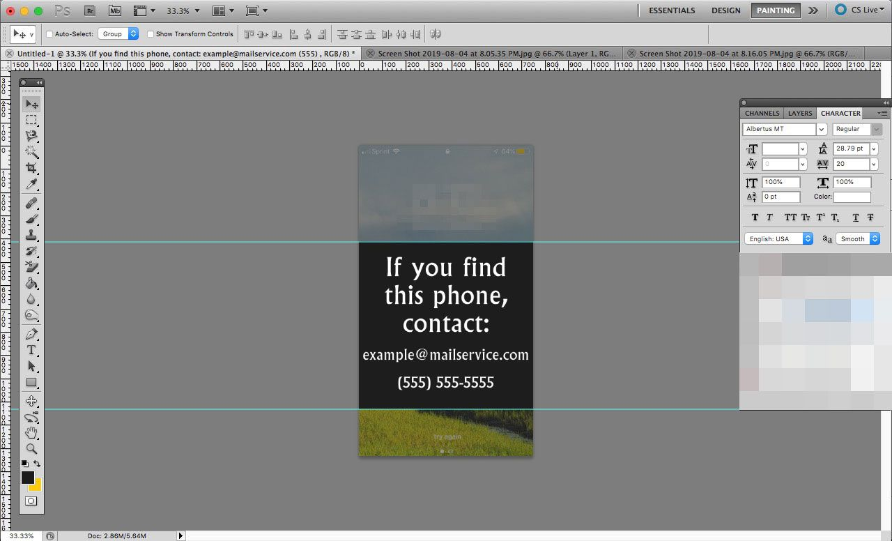 A Photoshop document the size of an iPhone screen with contact info on it