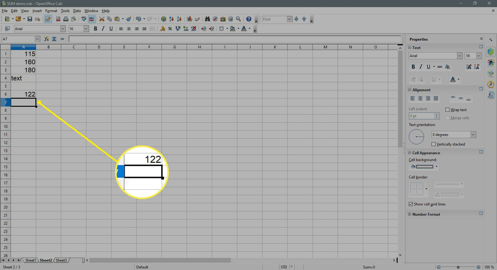 The cell A7 is selecting in OpenOffice Calc.