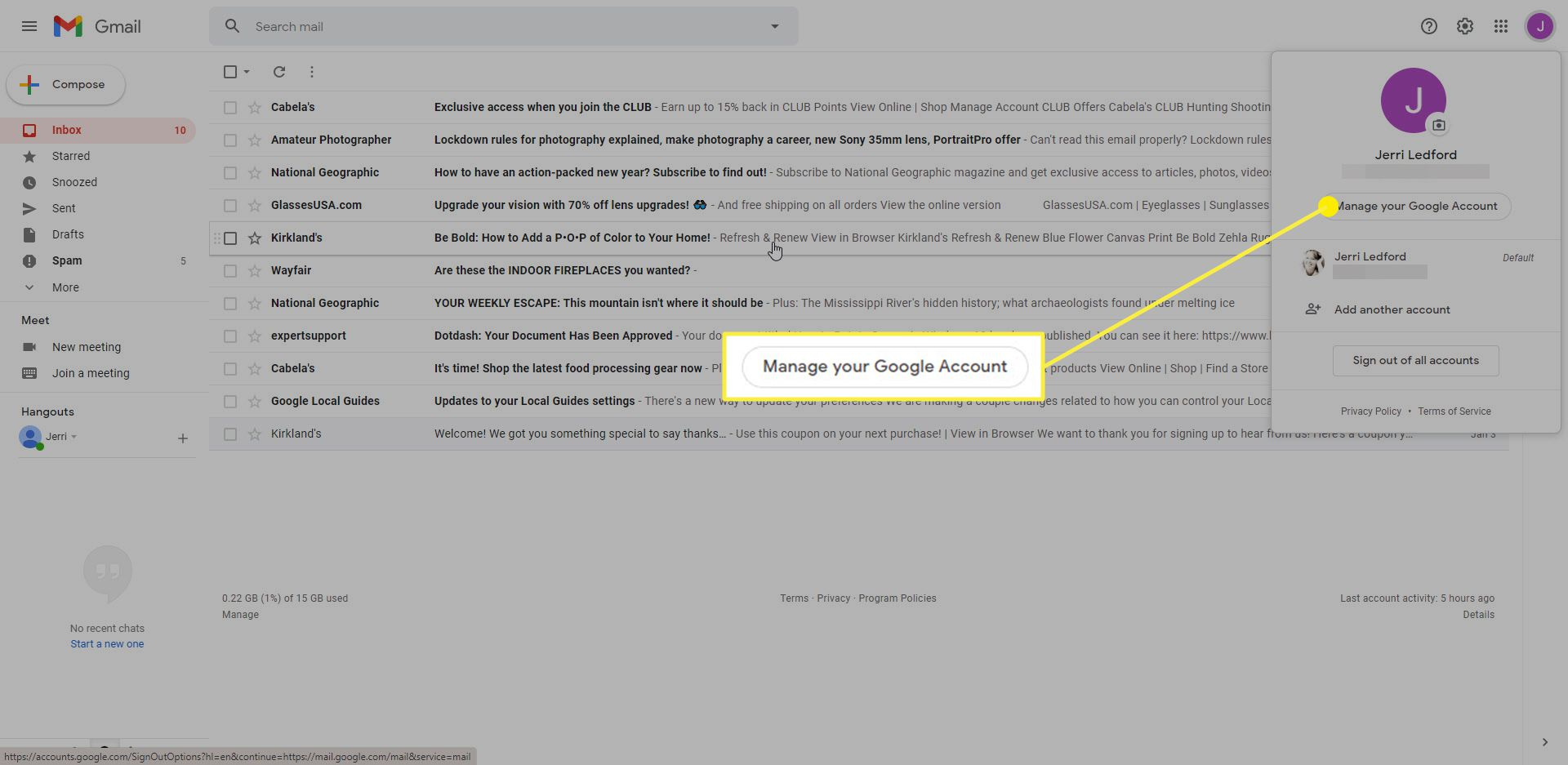 Gmail with the Manage your Google Account button highlighted
