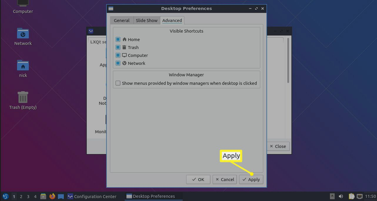 Visible Shortcuts section of Lubuntu Desktop Preferences