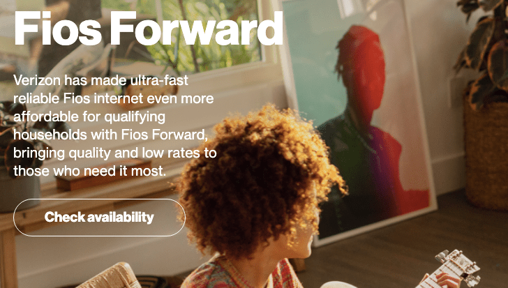 Verizon Fios Forward promo image and check availability prompt