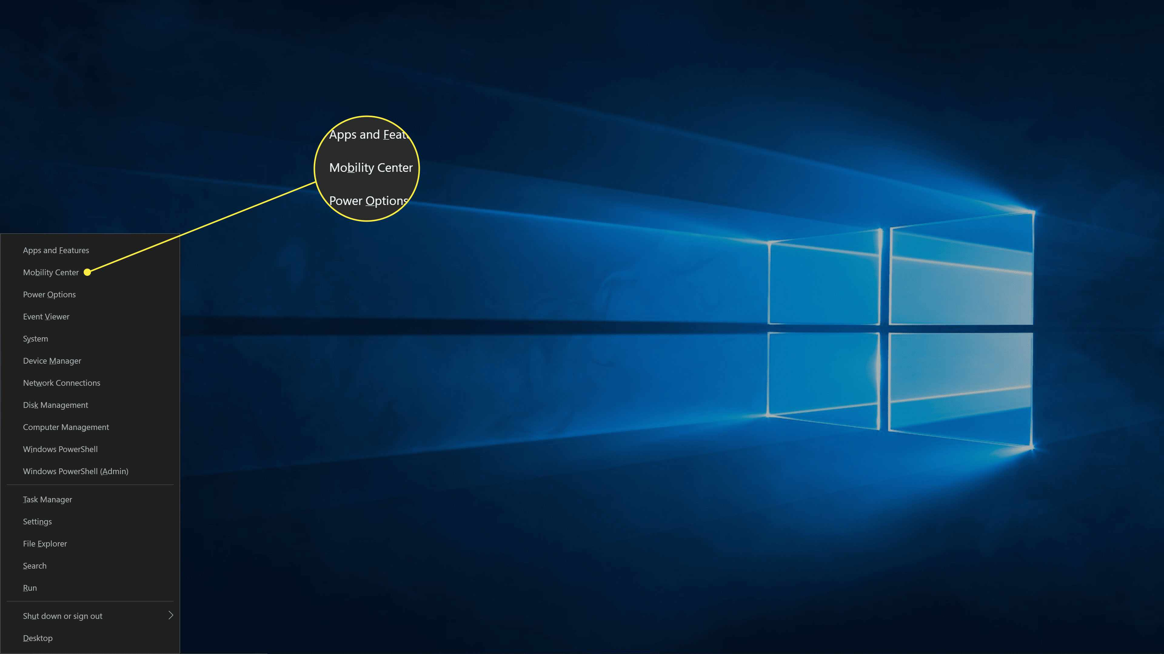 Mobility Center highlighted in Windows 10.