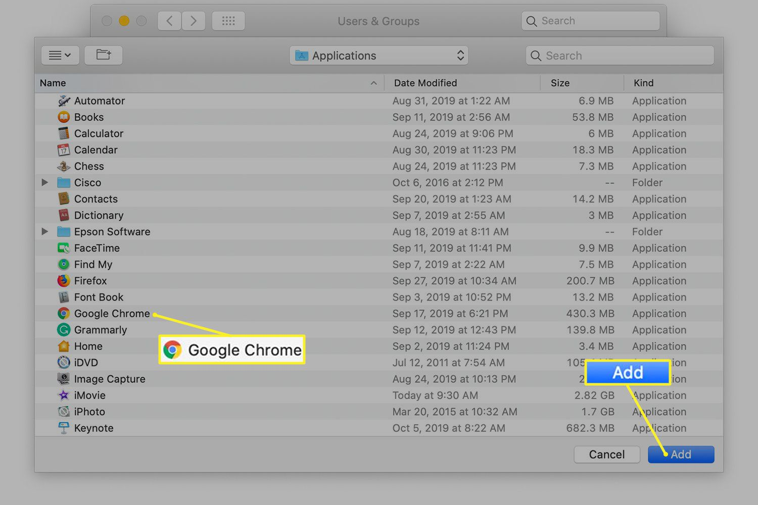 Mac Finder window with an app selected