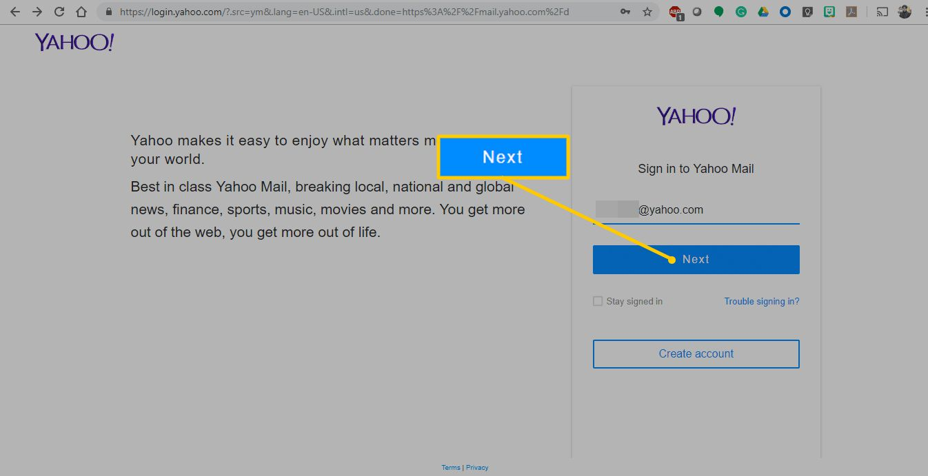 Next button for Yahoo Mail sign in