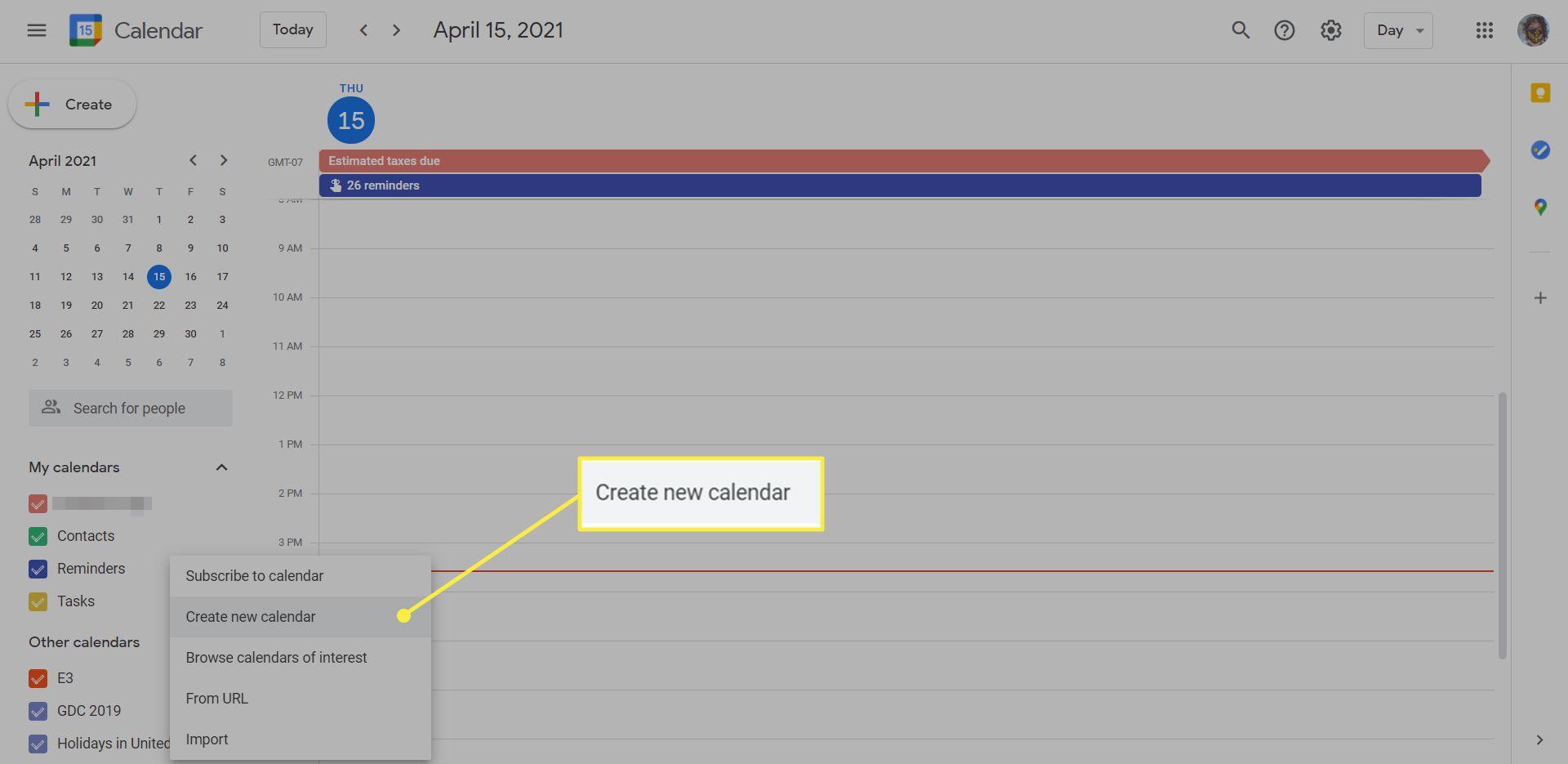 A Google Calendar with the 'Create new calendar' option highlighted