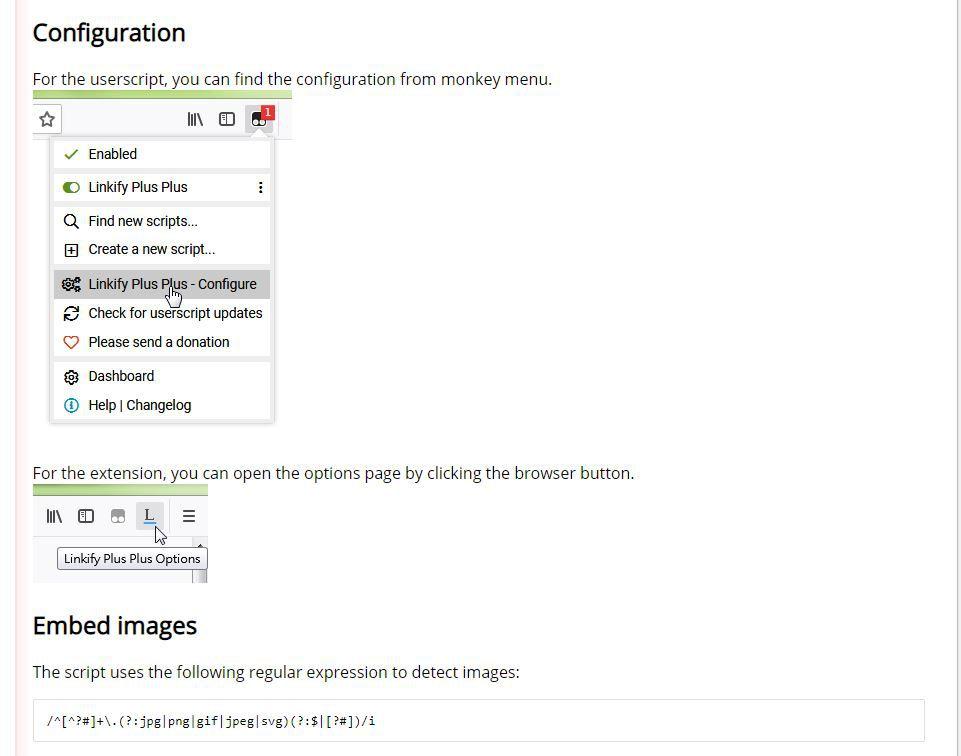 Linkify Plus Plus configuration