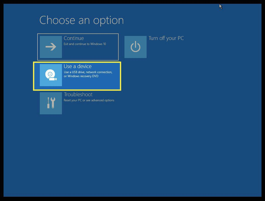 Choose an Option screen with Use a Device highlighted