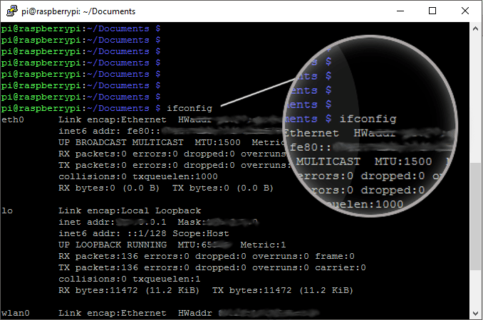 ifconfig can give you useful network information