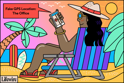 Illustration of a person on the beach with