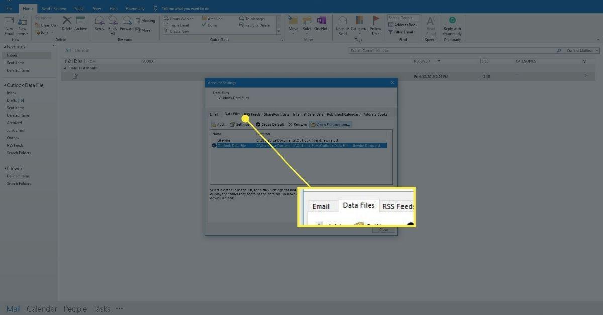 Screenshot of Data Files tab
