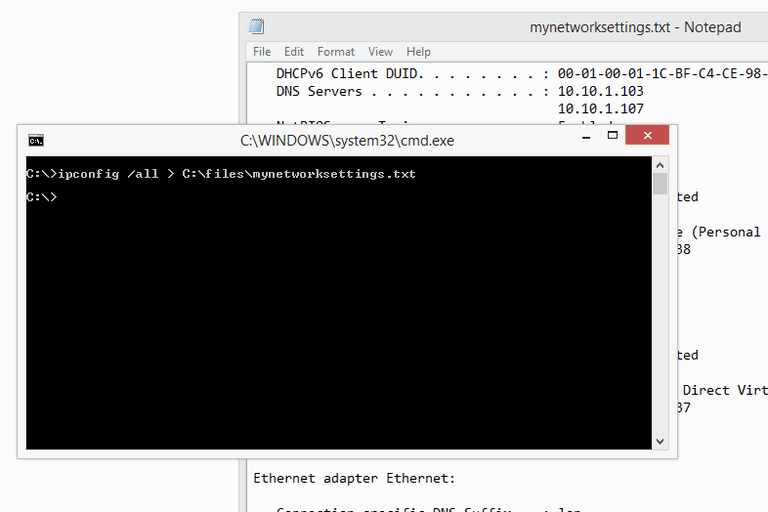 Screenshot showing how to redirect the ipconfig command results to a text file