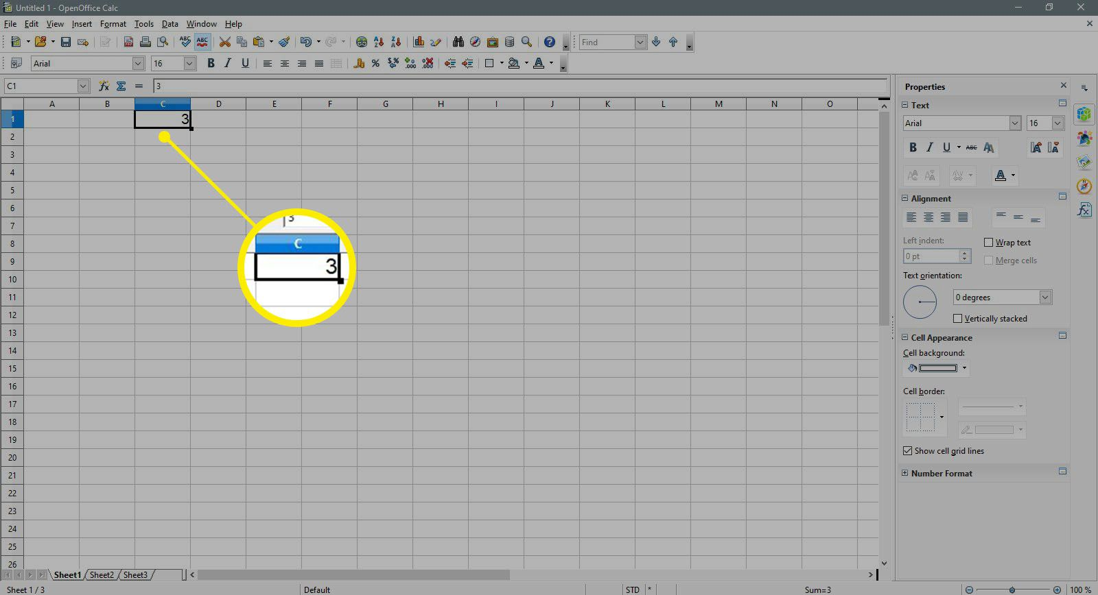 Enter a 3 in a cell in OpenOffice Calc.