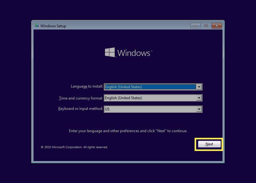 Screenshot of the Windows 10 setup program.