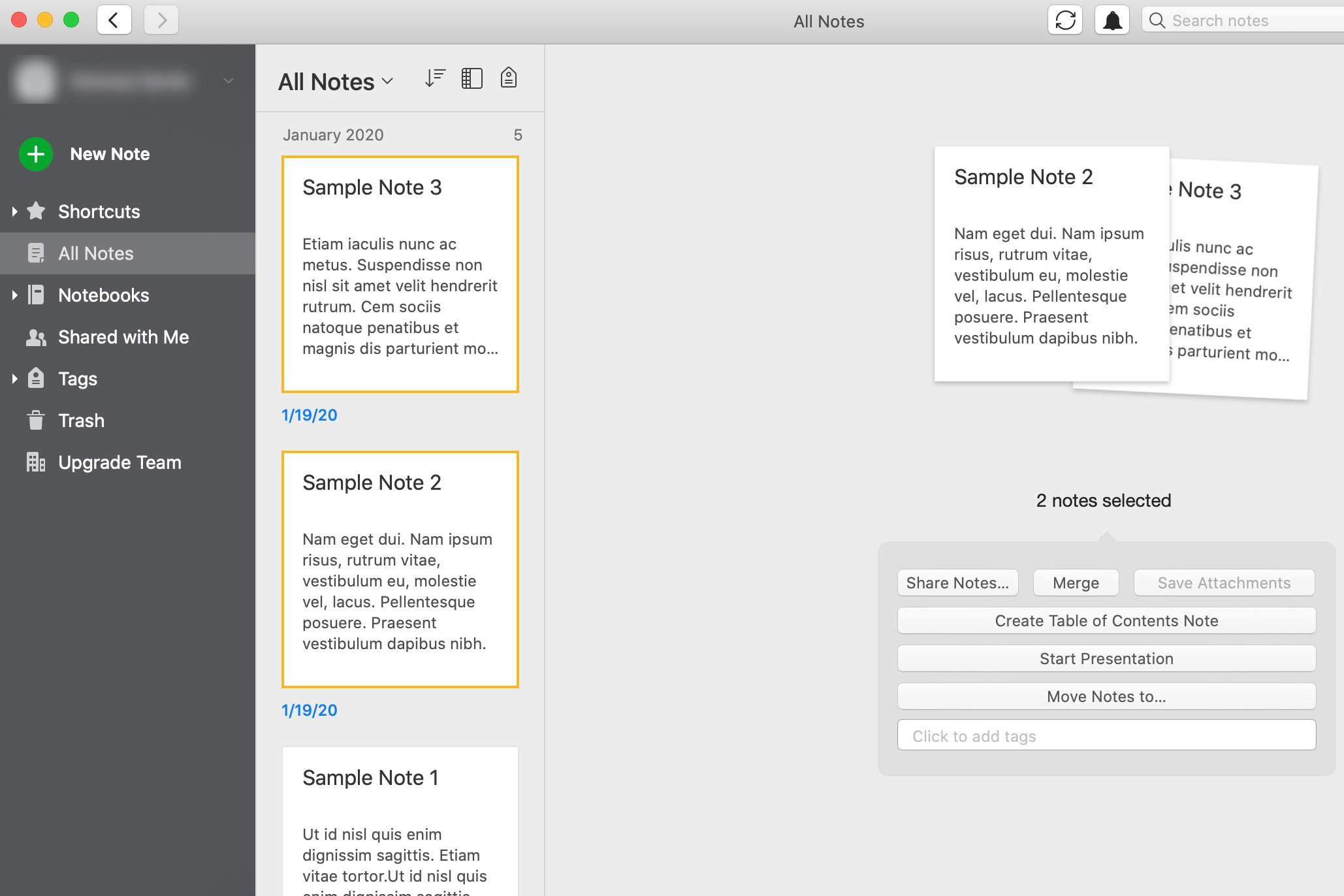 Merging two notes in Evernote