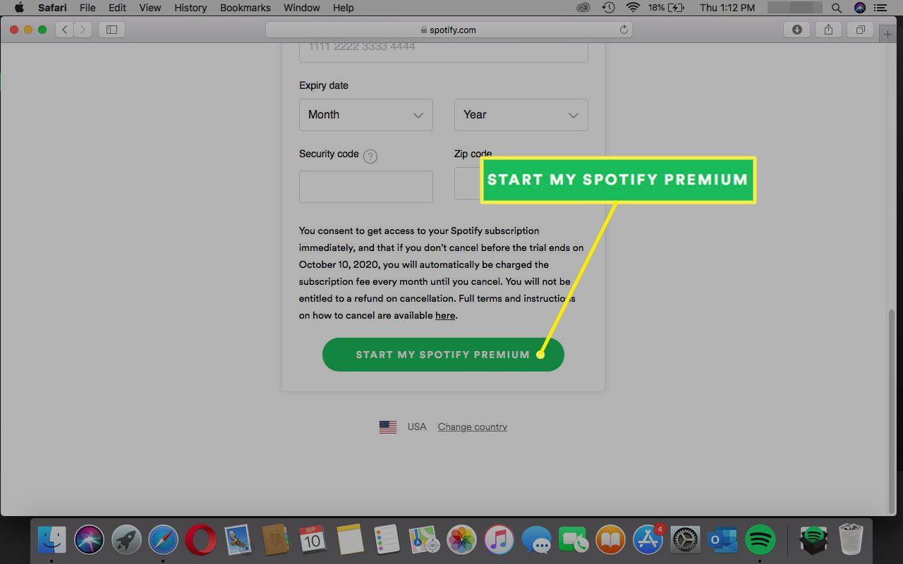 Selecting Start My Spotify Premium.