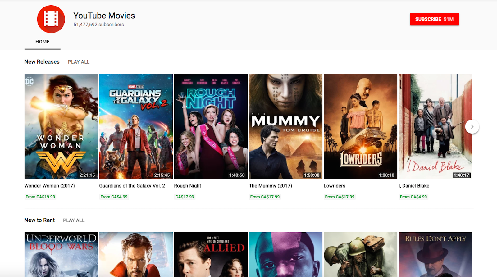 YouTube Movies main Home page