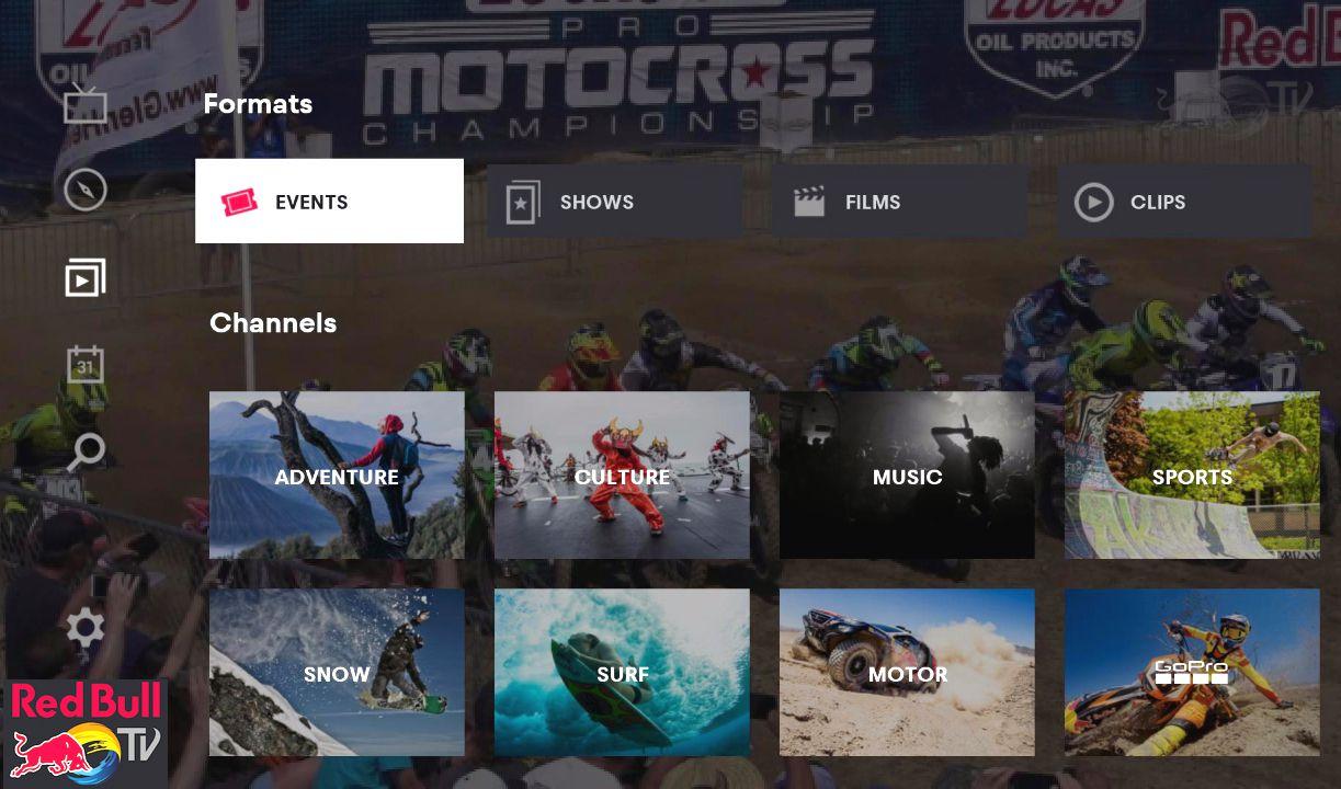 Red Bull TV–Roku Channel Menu Example