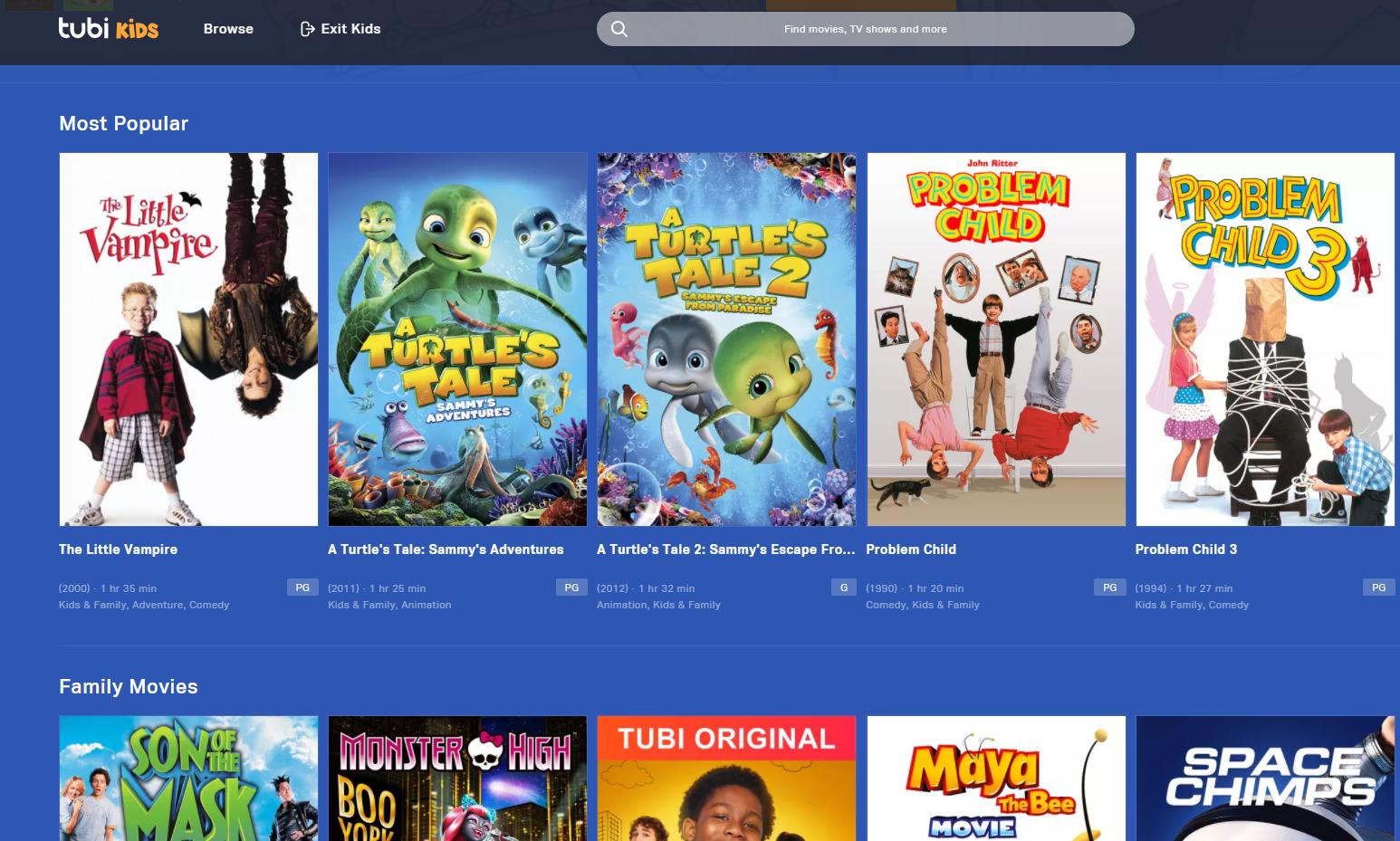 Tubi Kids free movies