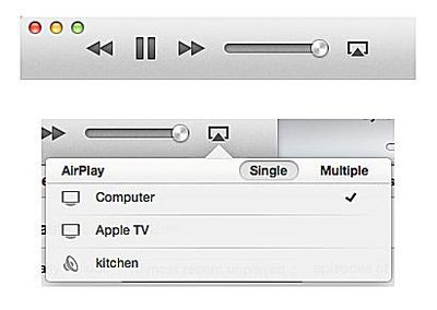AirPlay menu options