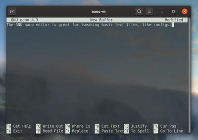 GNU nano editor window