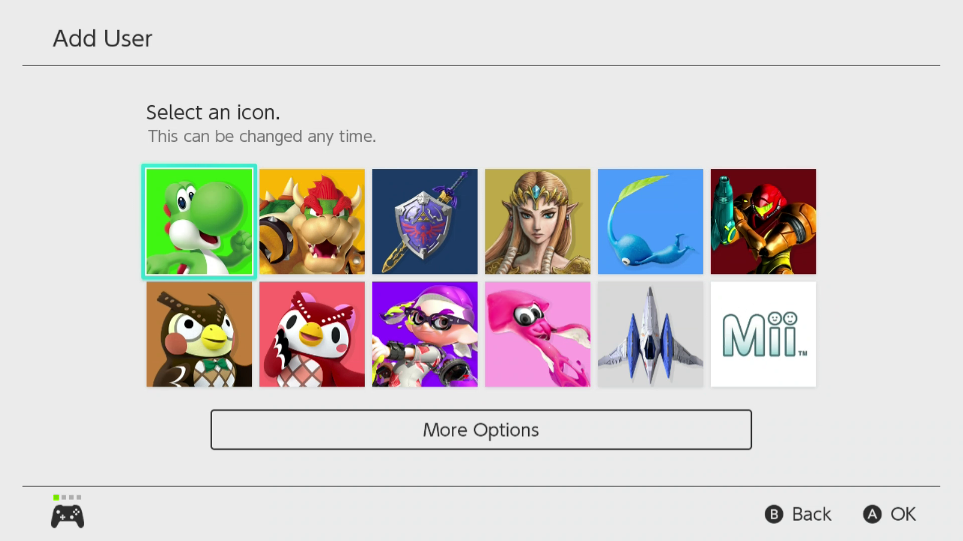 Selecting an icon on Nintendo Switch.