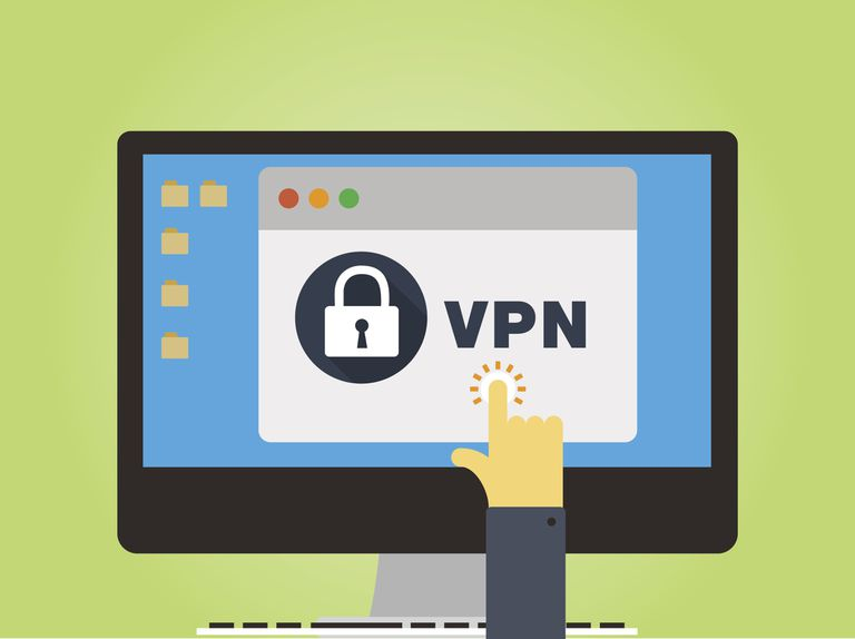 Vector image of a hand tapping a VPN tab on a screen.