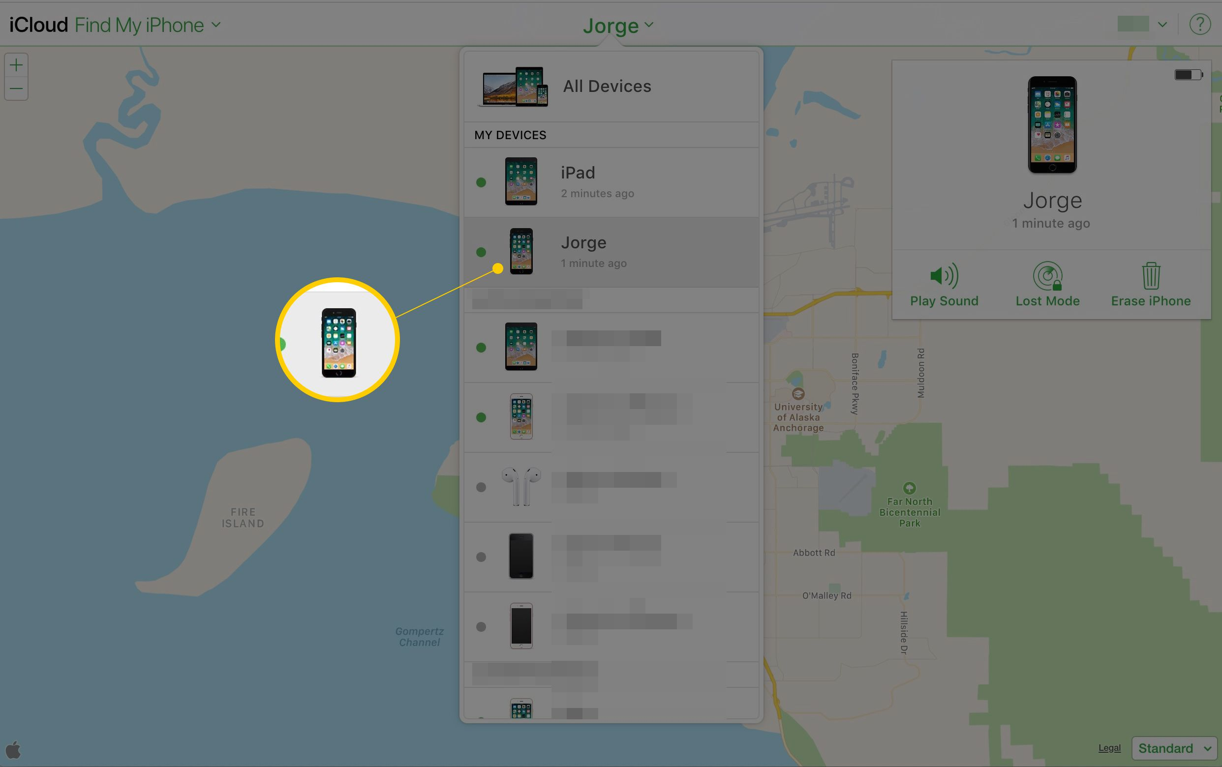 Screenshot of All Devices shown on iCloud.com map