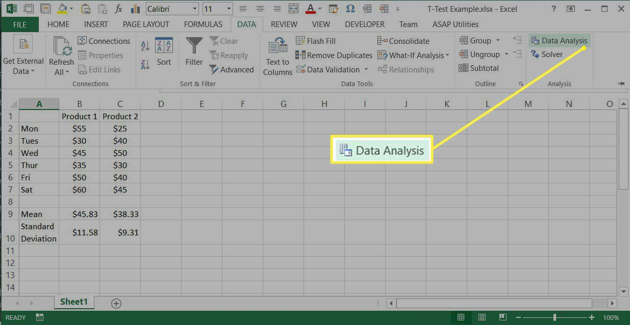 How to Do a T Test in Excel