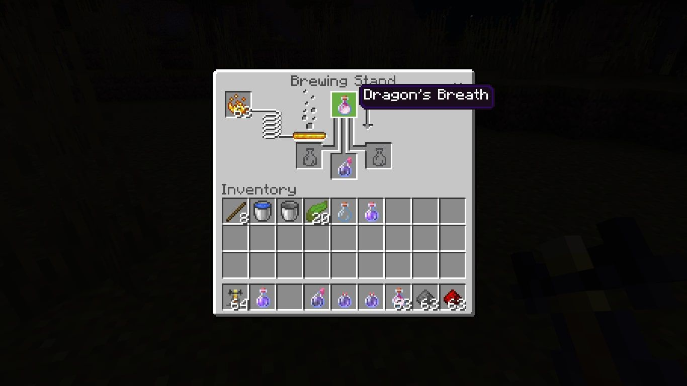 To create a Lingering Potion of Weakness, add Dragon's Breath to the top box of the brewing menu and a Splash Potion of Weakness in the bottom box.