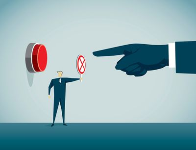 Illustration of a finger pointing at a button, and a person stopping the button being pushed