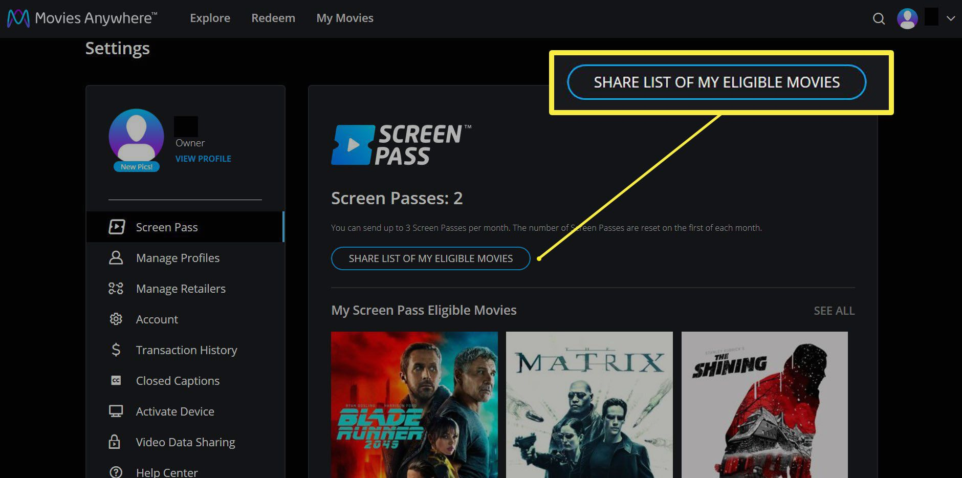 Screen passes with option to share list of eligible movies on the Movies Anywhere site.