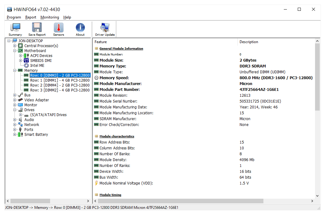 Memory information in HWiNFO64 7.02