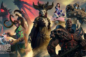 Blizzconline promo art with various game characters