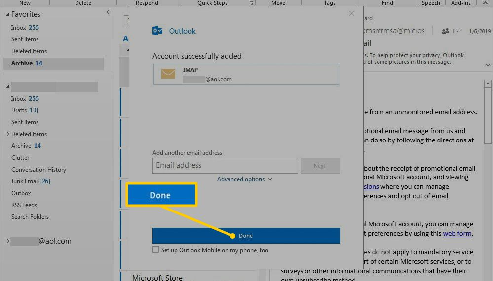 Done in Outlook Add Account dialog